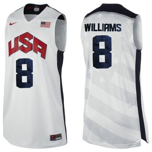 Camiseta Deron Williams 8 USA 2012 Blanco Hombre