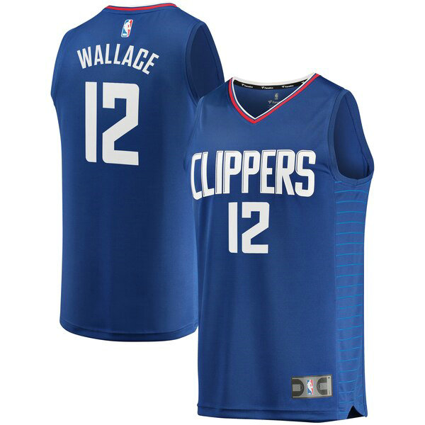 Camiseta Tyrone Wallace 12 Los Angeles Clippers Icon Edition Azul Hombre